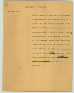 Primary view of object titled '[News Script: News briefs - Philbrick]'.
