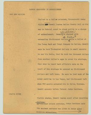 Primary view of object titled '[News Script: Banker sentenced in embezzlement]'.