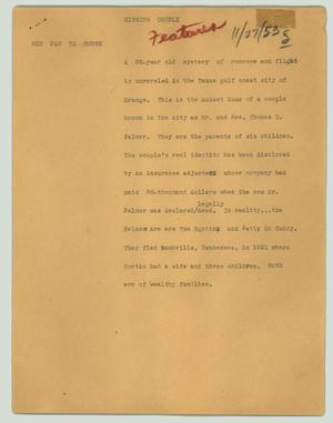 Primary view of object titled '[News Script: Missing couple]'.