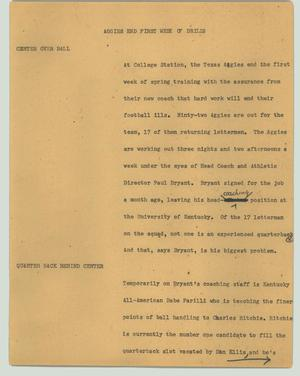Primary view of object titled '[News Script: Aggies end first week of drills]'.