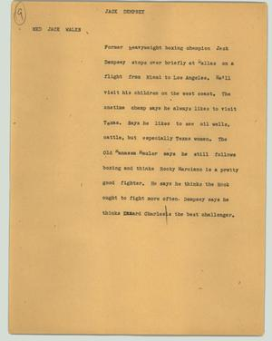 Primary view of object titled '[News Script: Jack Dempsey]'.