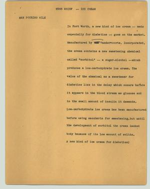 Primary view of object titled '[News Script: News brief - Ice cream]'.