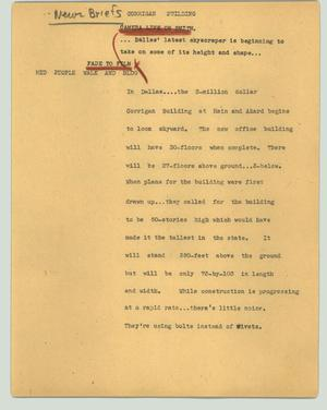 Primary view of object titled '[News Script: Corrigan building]'.