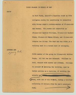 Primary view of object titled '[News Script: Youth charged in murder of man]'.