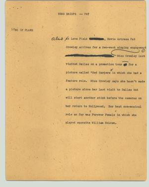Primary view of object titled '[News Script: News Briefs - Pat]'.