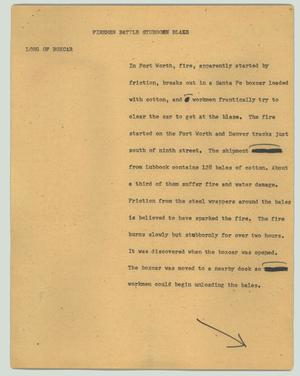 Primary view of object titled '[News Script: Fireman battle stubborn blaze]'.