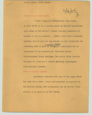 Primary view of object titled '[News Script: School honors young singer]'.