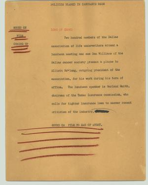 Primary view of object titled '[News Script: Politics blamed in insurance mess]'.