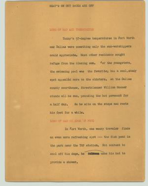 Primary view of object titled '[News Script: Heat's on but shoes are off]'.
