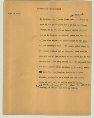 Primary view of object titled '[News Script: Houstonians take cruise]'.