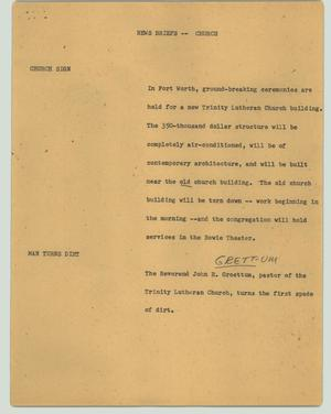 Primary view of object titled '[News Script: News briefs - church]'.