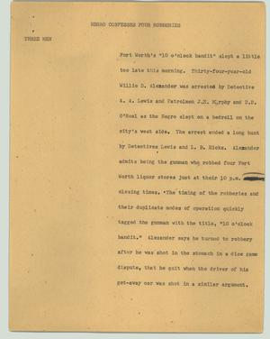Primary view of object titled '[News Script: Negro confesses four robberies]'.