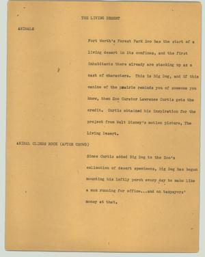 Primary view of object titled '[News Script: The living desert]'.