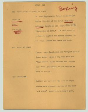 Primary view of object titled '[News Script: Sugar Ray]'.