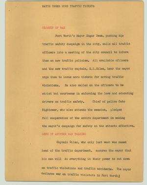 Primary view of object titled '[News Script: Mayor urges more traffic tickets]'.