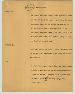 Primary view of object titled '[News Script: News briefs ---- accident]'.
