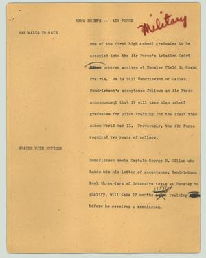 Primary view of object titled '[News Script: News briefs - Air Force]'.