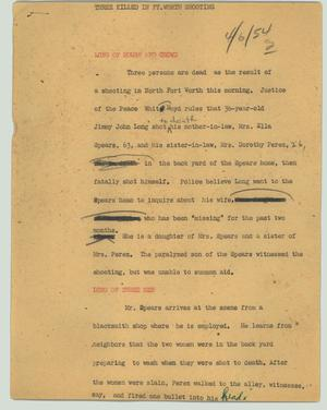 Primary view of object titled '[News Script: Three killed in Fort Worth shooting]'.