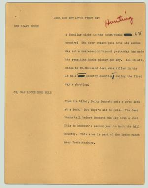 Primary view of object titled '[News Script: Deer gun shy after first day]'.