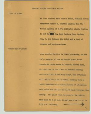 Primary view of object titled '[News Script: General Motors officials arrive]'.