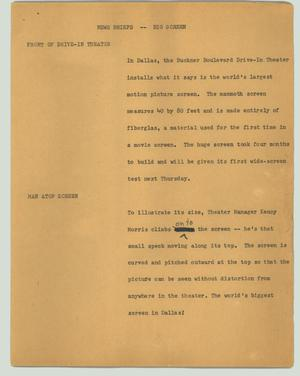 Primary view of object titled '[News Script: News briefs -- big screen]'.
