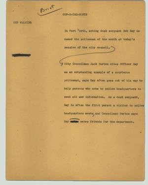 Primary view of object titled '[News Script: Cop-o-the-month]'.