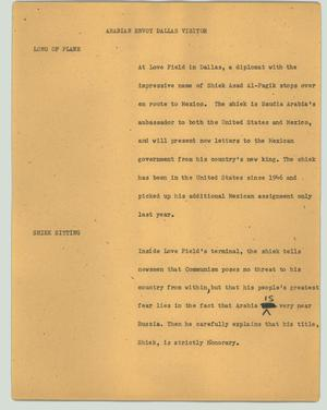 Primary view of object titled '[News Script: Arabian envoy Dallas visitor]'.