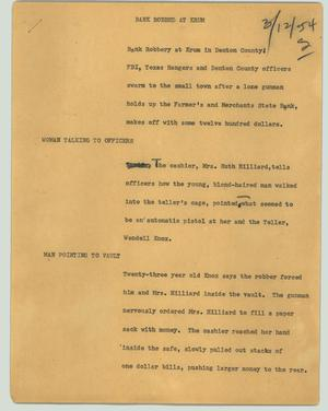Primary view of object titled '[News Script: Bank robbed at Krum]'.