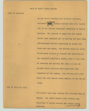 Primary view of object titled '[News Script: Sale of Easter seals begins]'.