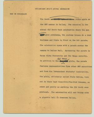 Primary view of object titled '[News Script: Collegians stage annual secession]'.