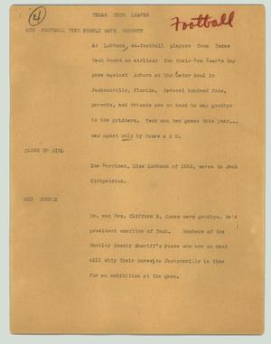 Primary view of object titled '[News Script: Texas Tech leaves]'.