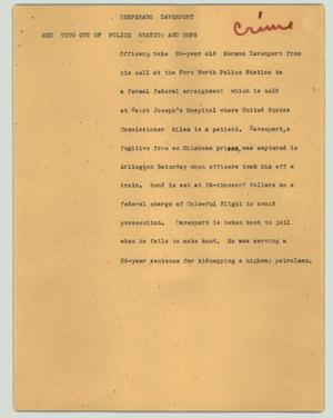 Primary view of object titled '[News Script: Desperado Davenport]'.