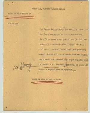 Primary view of object titled '[News Script: Meyer out, Fleming manages Eagles]'.