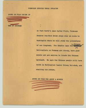 Primary view of object titled '[News Script: Formosan senator urges invasion]'.