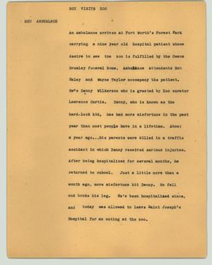 Primary view of object titled '[News Script: Boy visits zoo]'.