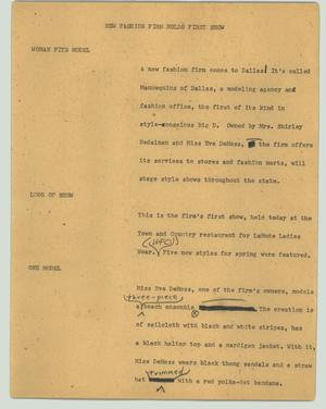 Primary view of object titled '[News Script: New fashion firm holds first show]'.