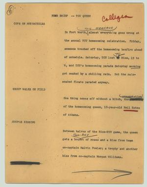 Primary view of object titled '[News Script: News brief -- TCU queen]'.