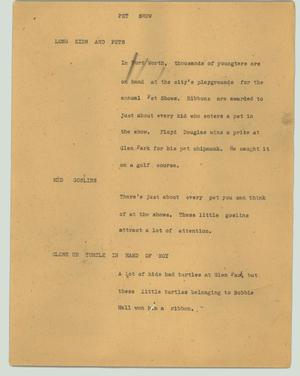 Primary view of object titled '[News Script: Pet show]'.