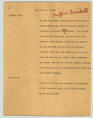 Primary view of object titled '[News Script: News brief - wreck]'.