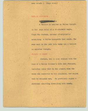 Primary view of object titled '[News Script: News briefs 1 (rape trial)]'.