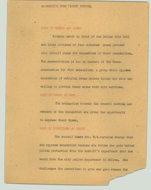 Primary view of object titled '[News Script: Annexation foes picket council]'.