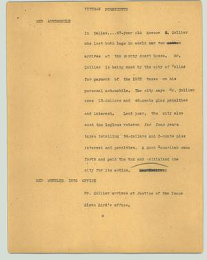 Primary view of object titled '[News Script: Veteran persecuted]'.
