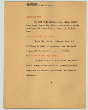 Primary view of object titled '[News Script: Moore receives annual award]'.