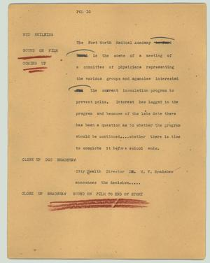 Primary view of object titled '[News Script: Pol io]'.