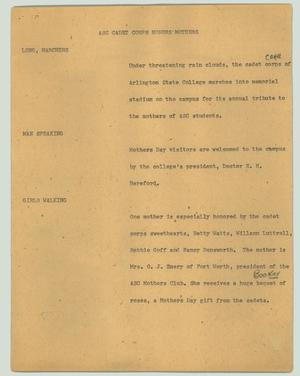 Primary view of object titled '[News Script: ASC cadet corps honors mothers]'.
