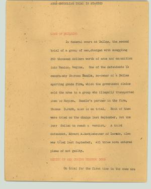 Primary view of object titled '[News Script: Arms smuggling trial is started]'.