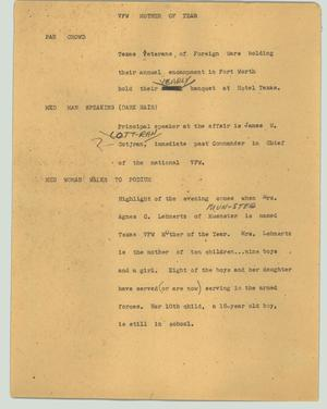 Primary view of object titled '[News Script: VFW mother of the year]'.