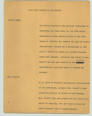 Primary view of object titled '[News Script: NCCJ pays tribute to Tom Braniff]'.