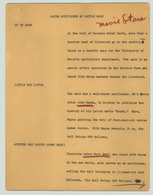 Primary view of object titled '[News Script: Wayne auctioneer at cattle sale]'.