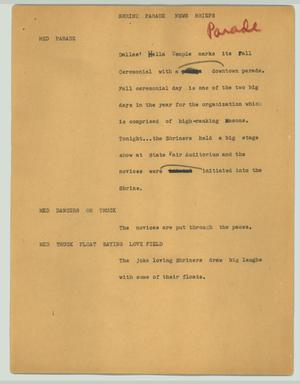 Primary view of object titled '[News Script: Shrine parade news briefs]'.